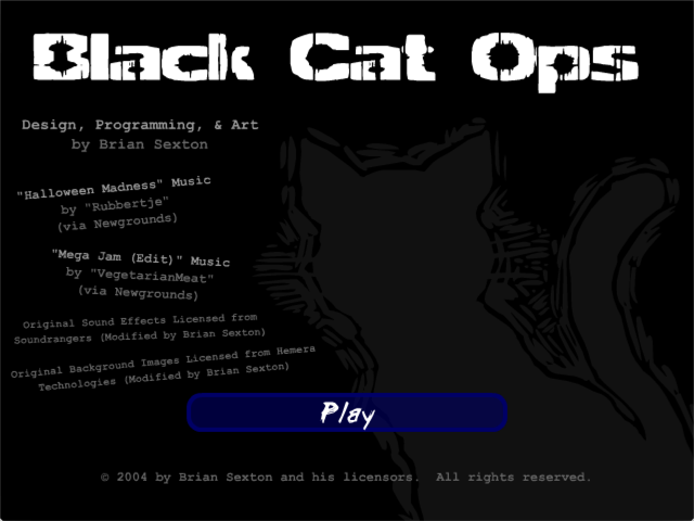 Black Cat Ops - Title Screen
