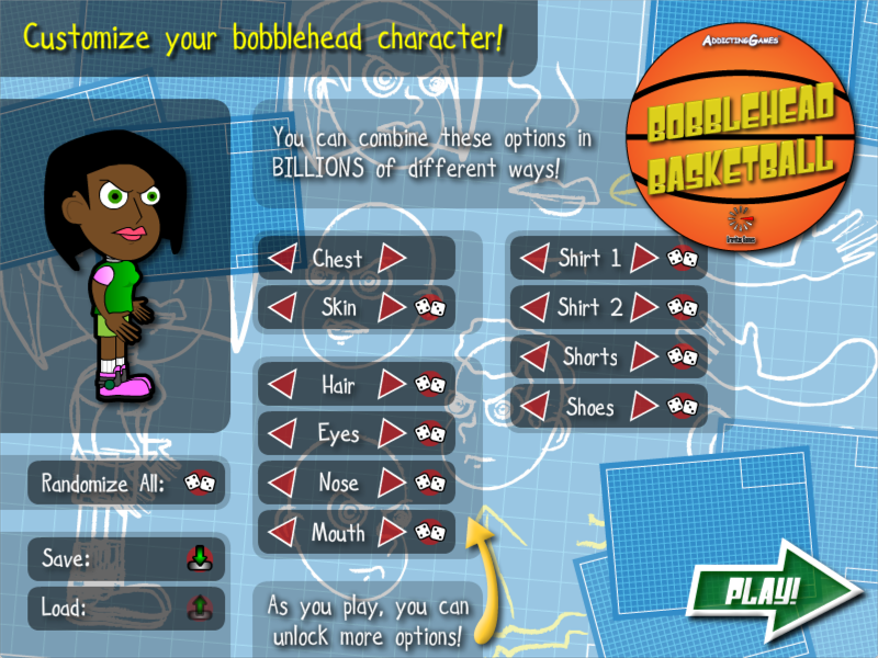 Bobblehead Basketball - Character Customization Screen